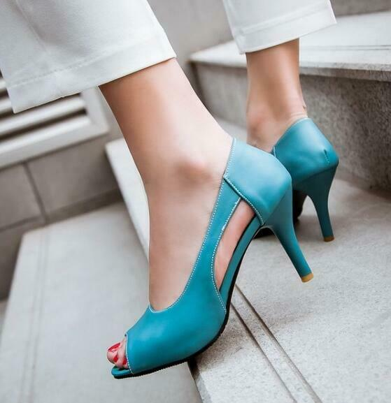 2019 Womens Peep Toe Cut Out Sandals shoes Stilettos High Heels Prom Date shoes