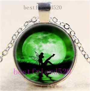 Tinkerbell-With-Moon-Cabochon-Glass-Tibet-Silver-Chain-Pendant-Necklace-E103