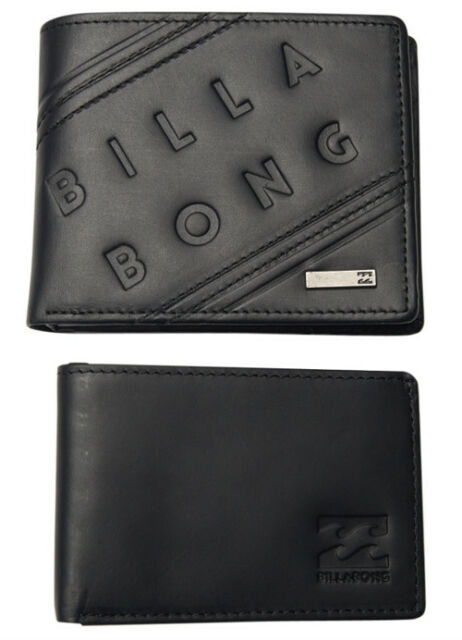 LEATHER WALLET BILLABONG NEW TAG TAGS MENS MEN BOYS BROOKLYN TRIFOLD BLACK