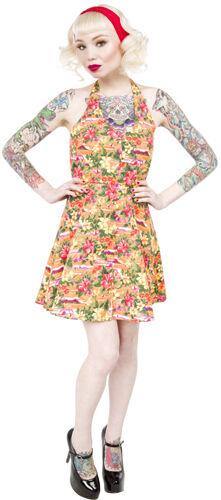 Take Me to Waikiki Sourpuss Hawaiian Halter Dress - Sz Sm & Med - Final Sale