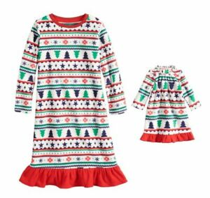 """Clothing, Shoes & Accessories Sleepwear Girl And 18"""" Doll Matching Fairisle Winter Nightgown Fit American Girl Dollie Me Exquisite Craftsmanship;"""