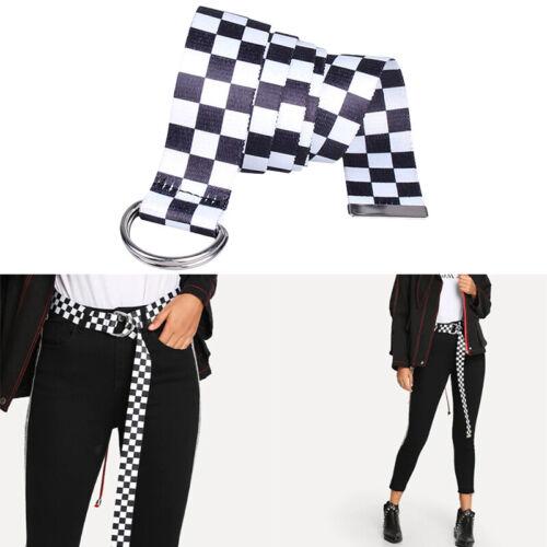 White Black Plaid Checkerboard Unisex Waist Belt Punk Long Canvas Waistband US