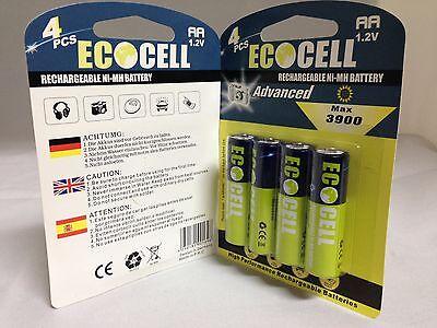 8 x Aufladbare Batterien Akku Accu Batterie EcoCell 3900 mAh AA R06 1.2V Mignon