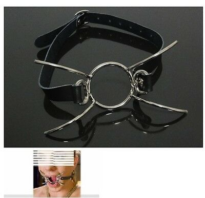 Leather O-Ring Spider Open Mouth Steel Ring Gag Steel Harness T2
