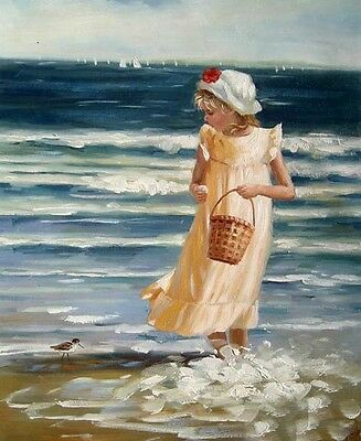 Oil painting little girl playing by beach with ocean waves and bird Hand painted