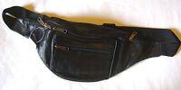 NEW BLACK LEATHER BUM BAG WAIST BELT 5 ZIP POCKET. 103