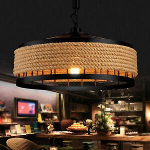 Retro-Grand-Lustre-Chanvre-Corde-Cafe-lampe-de-plafond-Hotel-Lumiere-Pendentif