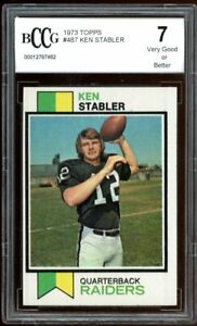 1973 Topps #487 Ken Stabler Rookie Card BGS BCCG 7 Very Good+