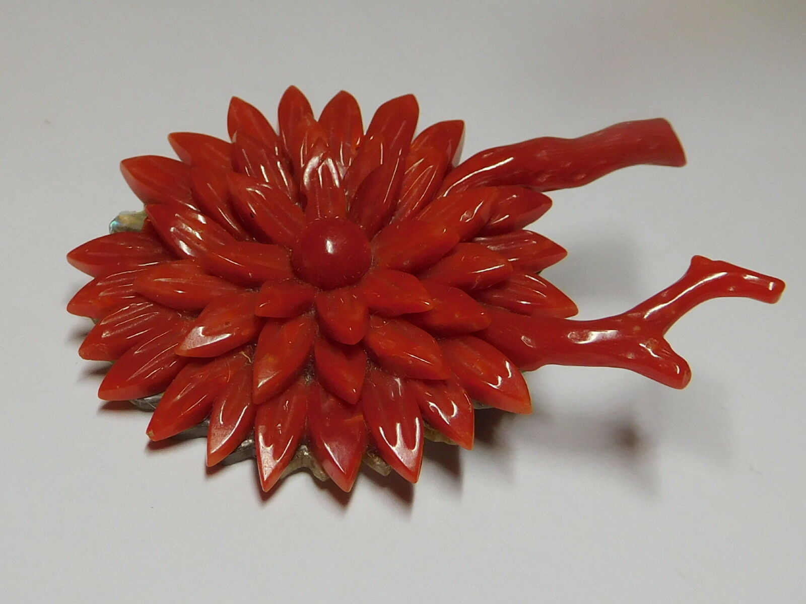 Antique Hand Carved Natural Un-dyed Red Mother of Pearl Coral Brooch Pin