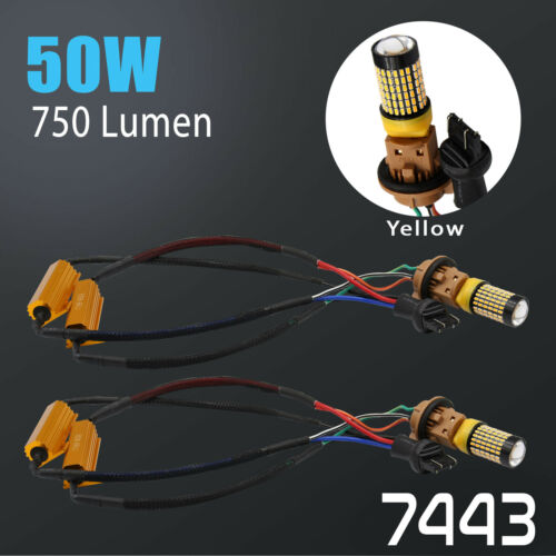 Error Free 7443 50W High Power LED Amber Yellow Front Turn Signal Light Bulbs