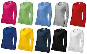 1-Damen-Shirt-LangarmShirt-Longsleeve-Tailliert-SLIM-Gr-S-M-L-XL-XXL
