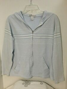 Dressbarn-Blue-amp-White-Sz-M-Zip-Up-Hoodie-Hooded-Sweatshirt-Light-Weight-Jacket