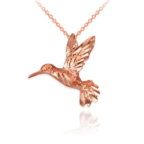 10K or Rose Flying Hummingbird DC Charme Collier