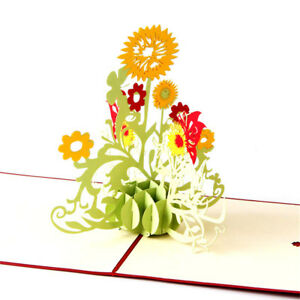 Sunflower-love-3D-Pop-UP-laser-cut-Paper-Greeting-Cards-thank-you-card-HU