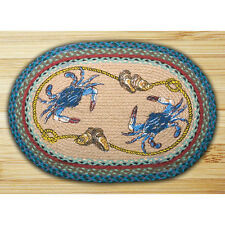 "NAUTICAL CRABS 100% Natural Braided Jute Rug, 20"" x 30"" Oval, Earth Rugs"