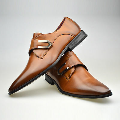 Mens New Brown Leather Smart Formal Black Buckle Shoes UK SIZE 6 7 8 9 10 11