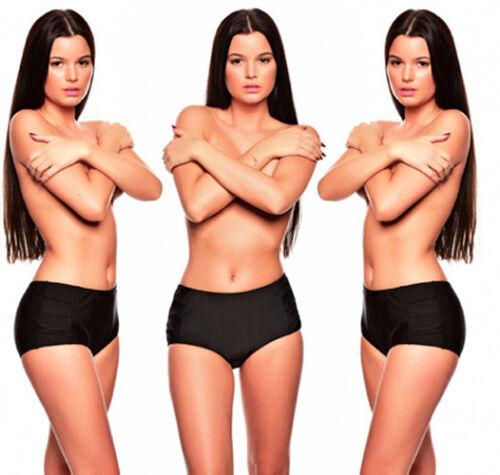 Donna Bikini Slip Panty Nero Via Pancia Nuovo Taglia 40 Ws-fl2-909-1187
