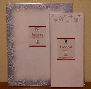 christmas stationery set 40 sheets 20 envelopes blue border silver