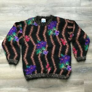 ICELANDIC-Design-Floral-Mohair-Pullover-Sweater-Women-039-s-Size-S-M-Small-Medium