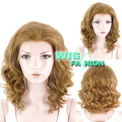 """11"""" Short Curly Medium Blonde Lace Front Synthetic Wig Heat Resistant"""