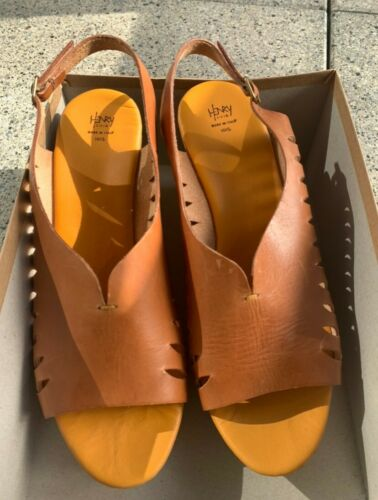 Henry Cuir Tan Leather Wedge Heels Size 39.5 (new, never worn)