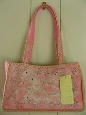 SIGRID OLSEN PINK LEATHER & FABRIC SHOULDER BAG PURSE WITH CUTOUT FLOWERS