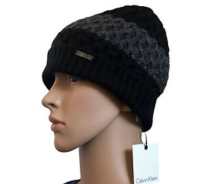 12d578cc72e Calvin Klein Women s Black Charcoal Cable Knit Beanie with Ribbed Cuff Sz OS
