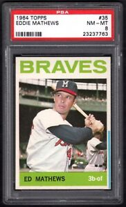 1964 TOPPS #35 ED MATHEWS BRAVES PSA 8 NM/MT (BLUE LINE VERSION. POP 1)