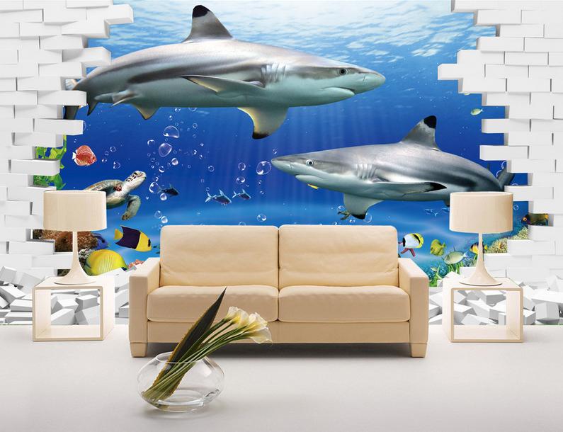 3D Ocean Fish 4055 Wallpaper Murals Wall Print Wallpaper Mural AJ WALL UK Lemon