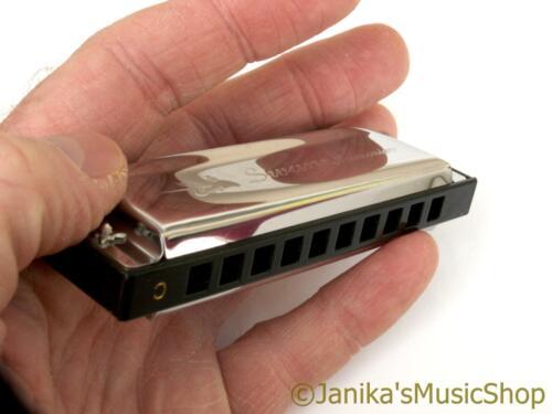 Swan blues small pocket harmonica+hard case harp mouth organ 10 hole 3 octave C
