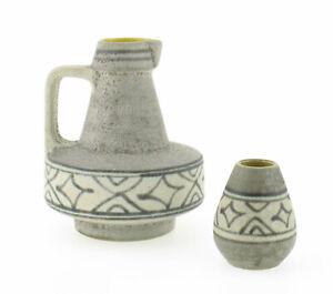 Ubelacker-U-Keramik-Henkelvase-1525-17-amp-Vase-464-8-Mid-Century-wgp-mcm-grau