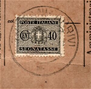 Segnatasse-Regno-di-Italia-1934-Usato-per-Posta-su-Frammento-c-40-grigio-Fasci