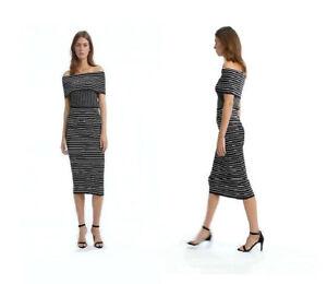 cec75e6ac6f3 Details about NWT  180 COUNTRY ROAD Pinstripe Milano Knit Bardot Off  Shoulder Midi DRESS BLACK
