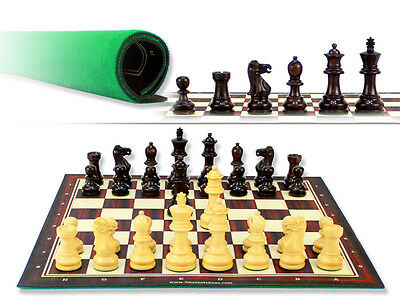 """Monarch Staunton Rosewood Chess Set Pieces 2-3/4""""+Chess Board 13""""+2 Extra Queens"""