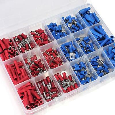 360pcs Insulated Wire Terminal Assortment Kit Connector Wiring Spade Butt Ring