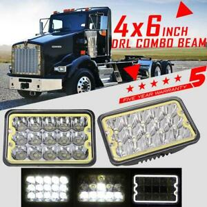 Car & Truck Lighting & Lamps DOT 4x6 120W LED Headlights HI/LO For Kenworth Peterbilt Chevrolet Freightliner