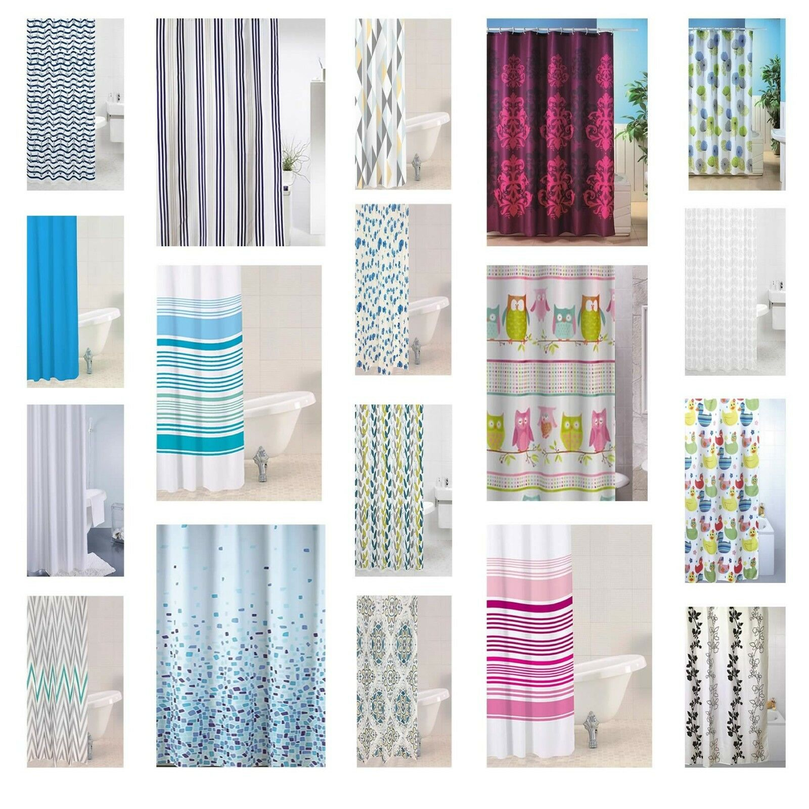 Modern Bathroom Shower Curtain Luxury Designer Range With