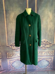 VNTG-Lodenfrey-WARM-Hunter-Green-Winter-Coat-SMALL-Brushed-Wool-Flannel-AUSTRIA