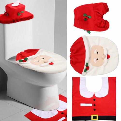 3tlg//Set Weihnachtsmann Badezimmer WC Weihnachten Deko Toilettenmatte Toilettenb