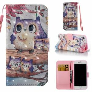 3D-PU-Leather-Wallet-Case-Flip-Cover-Card-Slot-Stand-for-Phone-Purple-Owl-Family