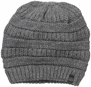 09d07f79694 NWT True Religion Chunky Ribbed Knit Beanie Warm Winter Hat Cap Charcoal  Gray