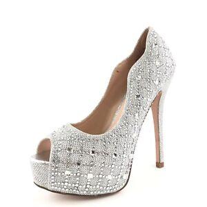 884183412e37 Image is loading Lauren-Lorraine-Kylie-Silver-Platform-Jeweled-Sandals -Women-