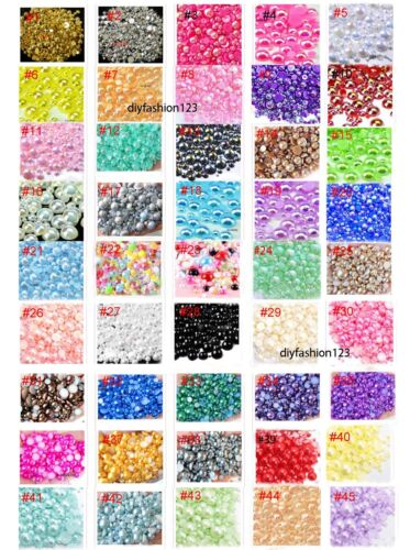 800 Pcs Lavender Flatback Half Faux Pearls Beads DIY Crafts Nail Art