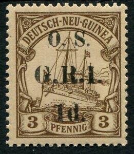 039-G-R-I-039-New-Guinea-1915-Surcharged-1d-on-3pf-brown-overprinted-039-O-S-039-SG-O1