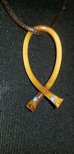 Vintage Bamboo Necklace Wishbone Shape Handmade on a silk spun cord.