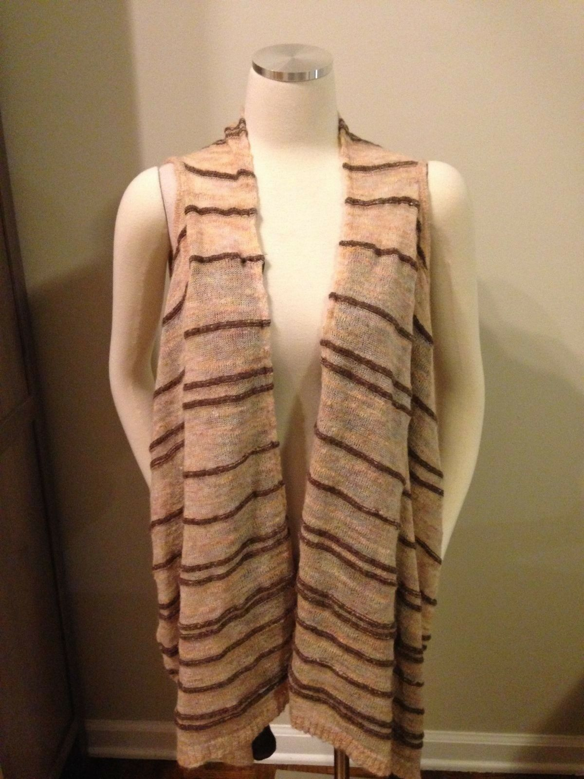 Moth Anthropologie Brown Pink Stripe Drape Open Sweater Vest Small EUC