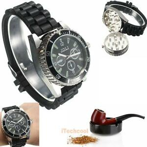 Metal-Alloy-Wrist-Watch-Style-Herb-Spice-Tobacco-Grinder-Cigarette-Crusher-Black