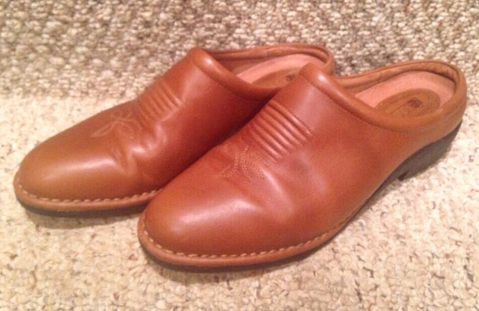 ROCKY Women's Brown Leather Country Western Bootie Clogs Mules Shoe 10MW 4250