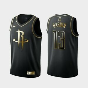 huge discount 8cb82 c54e0 Details about James Harden #13 Houston Rockets Limited Gold Edition Men  Jersey The Beard BLACK