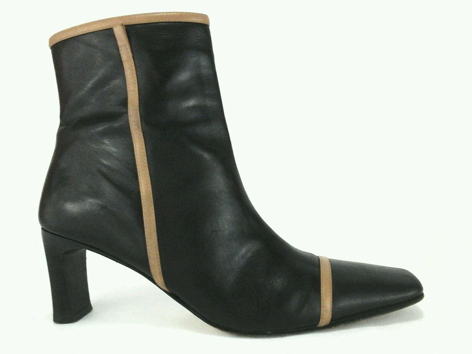 CAVALLINI Ankle Boots Black Brown Leather Heels Made  US 7.5  M EU 38  289